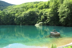 The green waters of the lake at the head of Szalajka Volgy