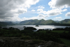 The sun breaks through the clouds over Derwent Water