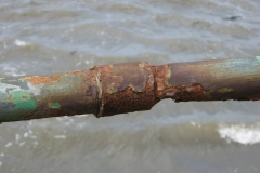 A rusting railing on the promenade at Maryport