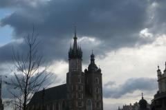 The grand St Mary's church against a dark sky