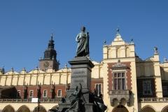 Adam Mickiewicz stands tall before Sukiennice