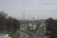Kraków from a bridge over Powstańców Śląskich
