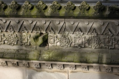 The fine carving along the roof-line