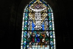 The stained glass window in the chapel's sacristy