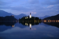 The still waters of Lake Bled at night