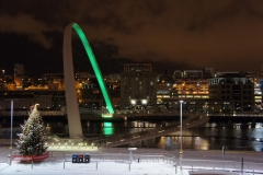 Glowing green: the Gateshead Millennium bridge