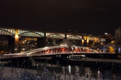 Newcastle swing bridge at night